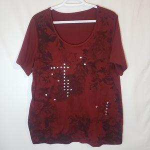 BOGO Red floral with embellishments plus size 1x